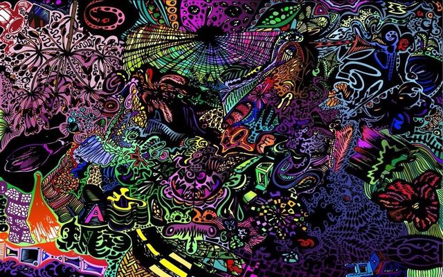 Psychedelic Trippy Art Fabric Poster 21 X 13 Decor 24