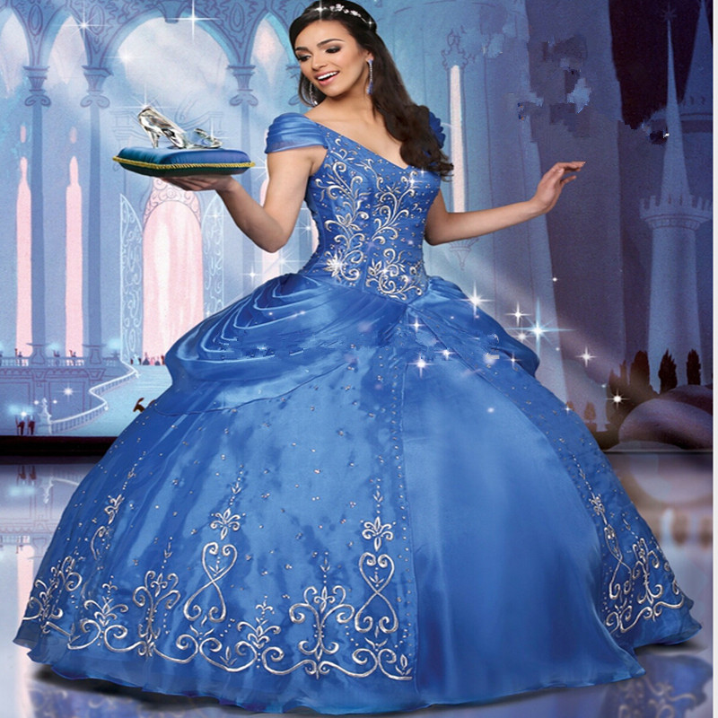 New 2017 Blue Quinceanera font b Dresses b font Ball Gowns with V Neck Embroidery Sweet