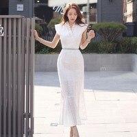 2019 Summer Dress Runway White Hollow Out Sexy Femme Longue Ruffles Mermaid Dress Slim Bodycon Party Long Dress