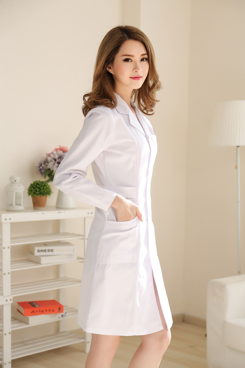 Medical clothing womens cotton Medical gown Lab wear White coat Clothes for doctors females thick Spring autumn nurse uniform