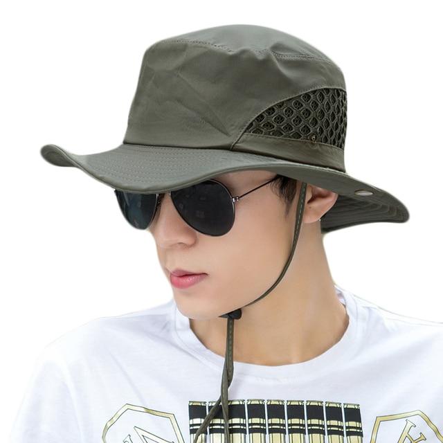 f3f0868ea19 Sun Hat For Men Bucket Hats Women Summer Fishing Cap Wide Brim Uv