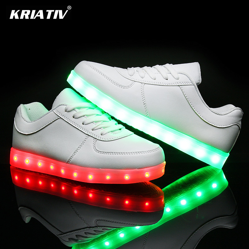 KRIATIV Colorful USB Charging Glowing girl shoe Led Children shoes infant led slippers kid light up shoes LED luminous Sneakers fashion bright solid usb led light up kid shoes breathable hook