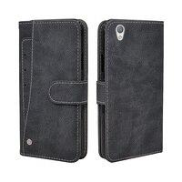 Funda de cartera de lujo para Sony Xperia XA1 Plus, funda de silicona TPU de cuero con tapa Vintage, con ranuras para tarjetas de negocios
