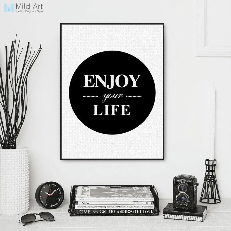 Minimaliste Noir Blanc Profiter De La Vie Typographie Citation Art Imprimer Affiche Mur Photo Salon Toile Peinture Personnalise Decor A La Maison Aliexpress