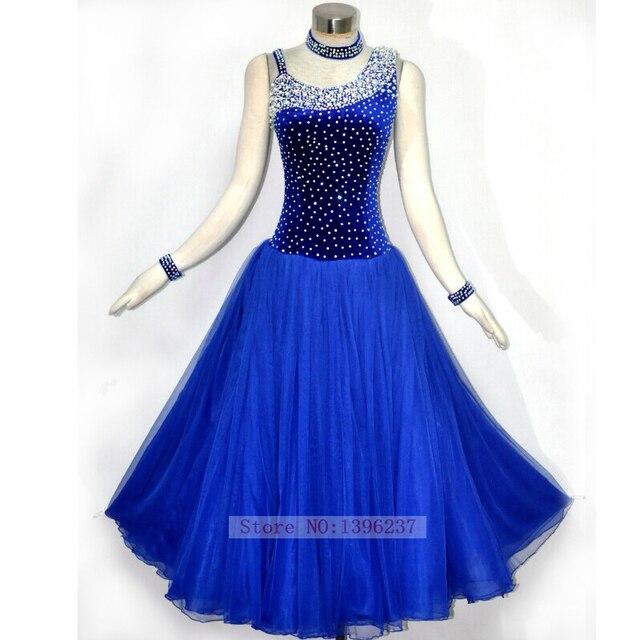 758fb393f Standard Ballroom Dress New Sparkle Royal Blue Flamenco Costume Custom-Made  Tango Waltz Modern Competition Dancing Dresses