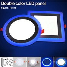 TSLEEN 5W 9W 16W 24W led Ceiling Recessed panel Light Painel lamp decoration round square Led Panel Downlight Blue+White 2 color