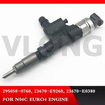 Подлинный и абсолютно новый инжектор дизельного топлива 295050-0760, 23670-E9260, 23670-E0380 для двигателя N04C EURO4