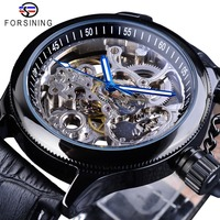 Forsining Clock Skeleton Blue Hands Black Watches Screw Crown Cap Design Men Mechanical Wristwatches Luminous Hands Uhren Herren