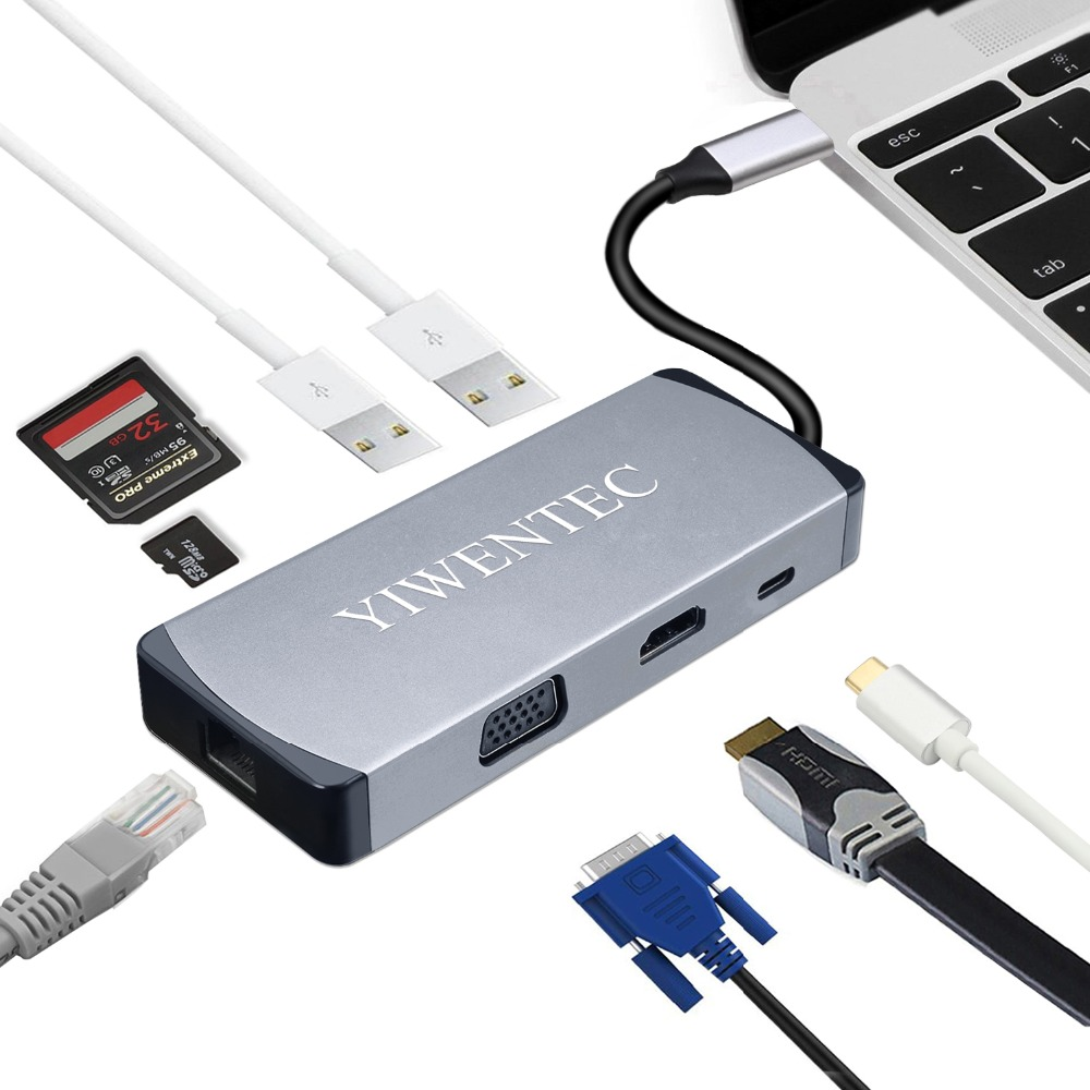USB C Type c to HDMI 4K RJ45 VGA 108P 2xUSB3 0 Hub TF SD card