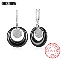 Top Luxury Quality Fashion Jewelry 100 925 Sterling Silver Black And White Round Ceramic Lady Earrings