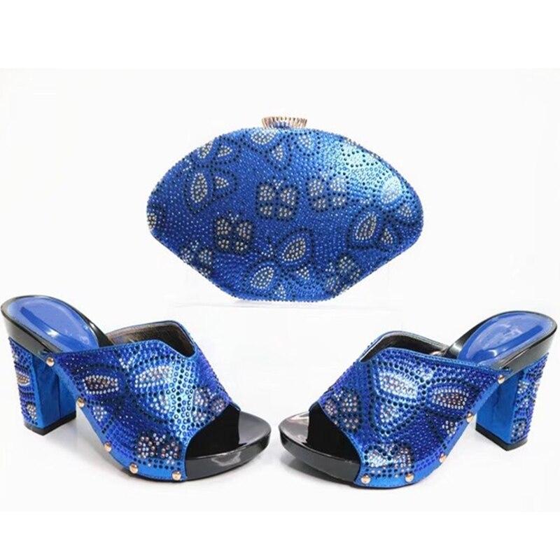 Sac Couleur Africaine Bleu En Ensemble Avec Pour Bleu Décoré Fête Dames Italiennes argent pourpre Femmes or Chaussure fuchsia Et La Strass Chaussures Italien rXPqPwd