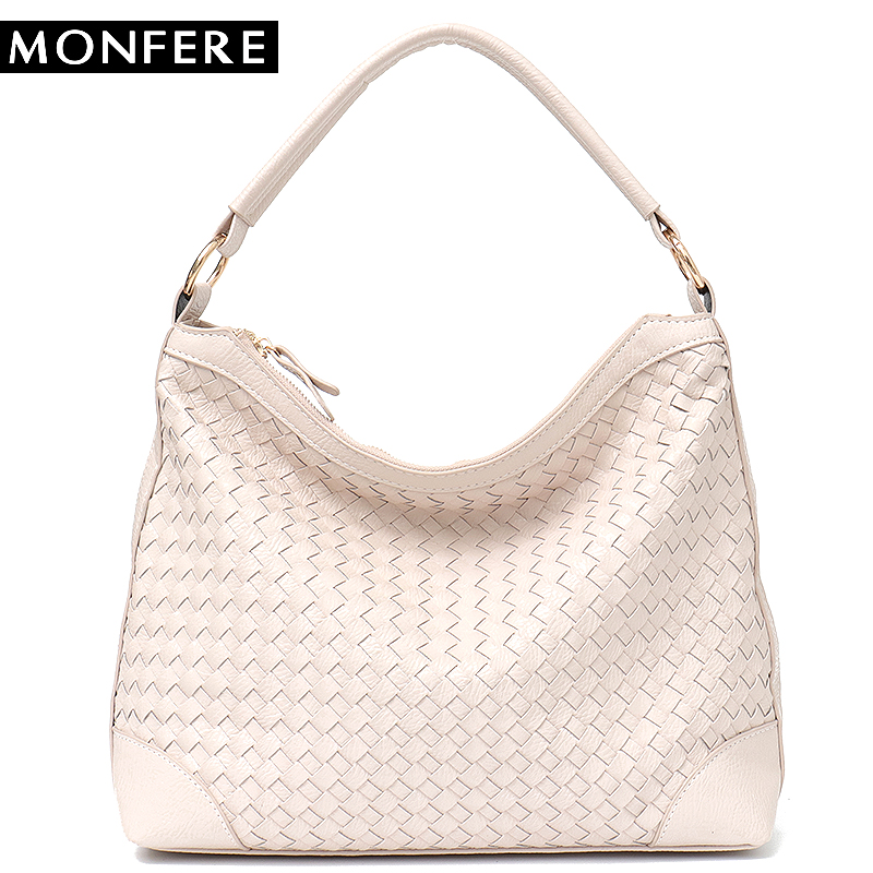 MONFERE Fashion Luxury Faux Leather Handmade Woven Hobo Tote Bag High Quality Handbags Grace Color Women Shoulder Messenger bag fashion luxury premium faux leather woven cabat tote bag high quality handbags candy color women shoulder bags large bag purse