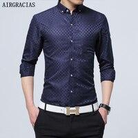 AirGracias Men S Business Shirt 2016 Spring Fashion Cotton Male Clothing Long Sleeve Slim Fit Men
