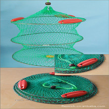 High Quality Folding Round Metal Frame Nylon Mesh Crab Fishing Net Fishing Folding Landing Net Green