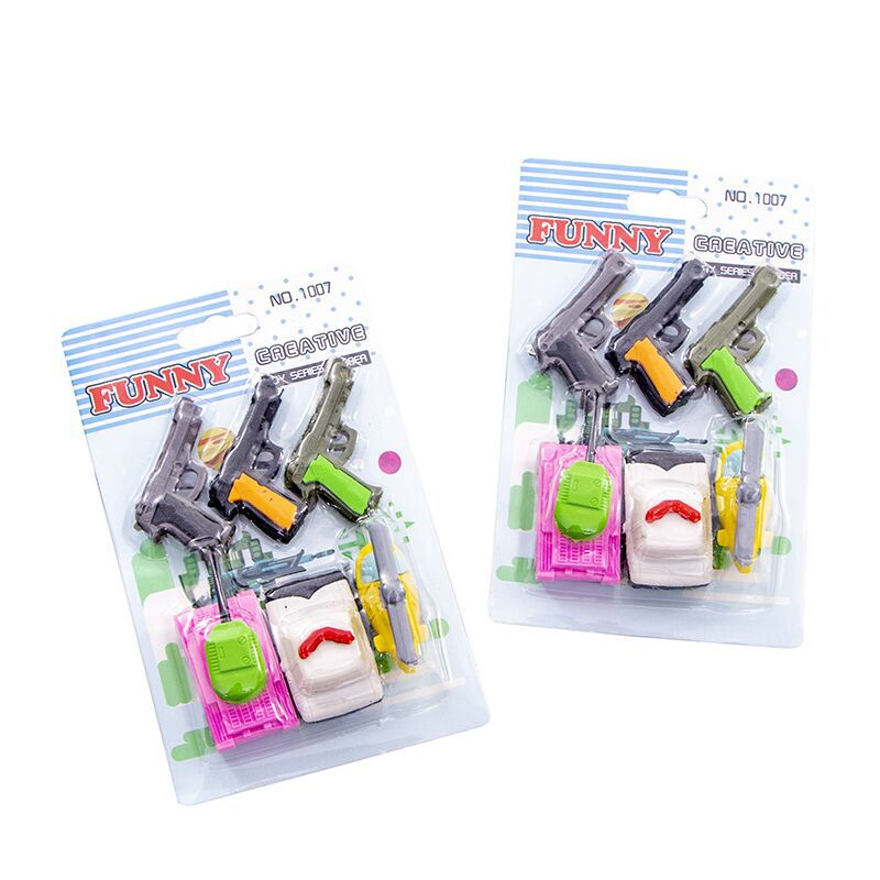 10 Set/lot  Gun Tank War Equipment Blister-card Eraser / Rubber Eraser Suit / Student Eraser/toy Children Gift