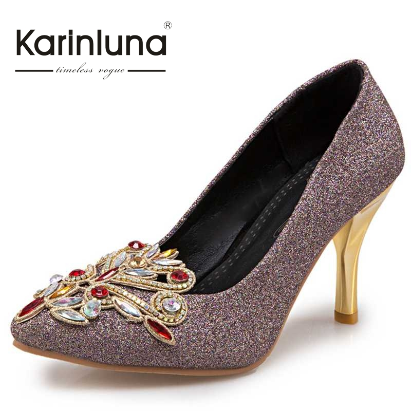 ФОТО Big Size 31-45 Women Rhinestone Pumps Sexy Thin High Heels Pointed Toe Sequined Upper Party Wedding Woman Shoes