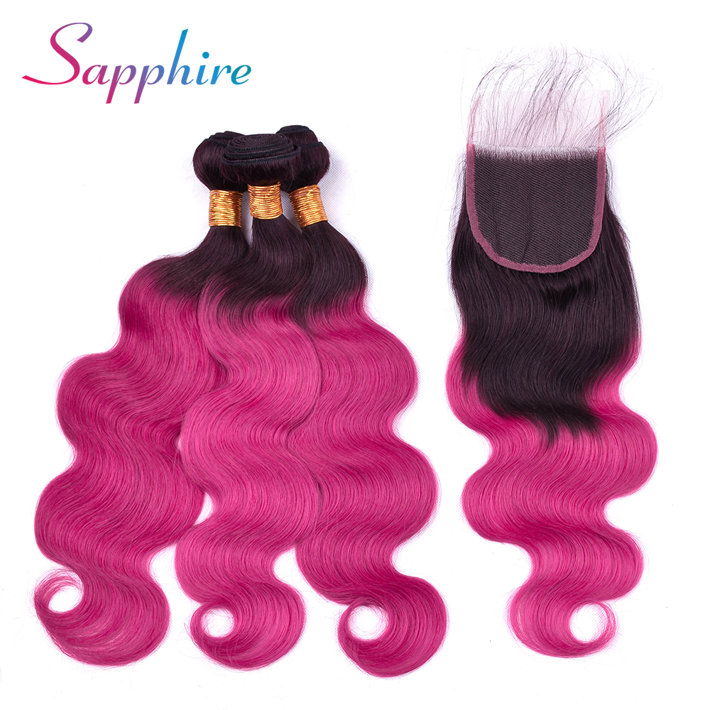 Sapphire Brazilian Body Wave 3pcs Hair Bundles Deal with 4x4 Lace Closure 100% Human Hair weaves Middlle/Free/Three Part