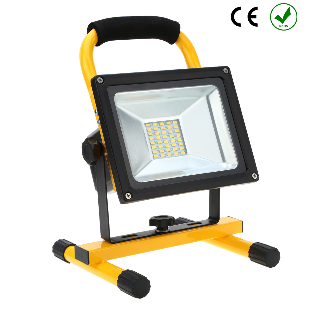 Rechargeable 30W LED Work Site Flood Light Cordless Camping Lamp Car Charger UK