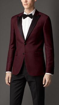 2018 Groom Tuxedos Burgundy Slim Fit Custom Made Groomsmen Best Man Men Wedding Suits Prom Formal Tuxedos ( jacket+Pants+tie)