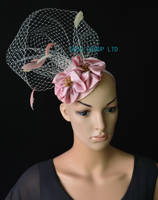5e6c59a7b4310 NEW Pink ivory veiling fascinator kentucky derby hat with feathers handmade  flower for wedding race .