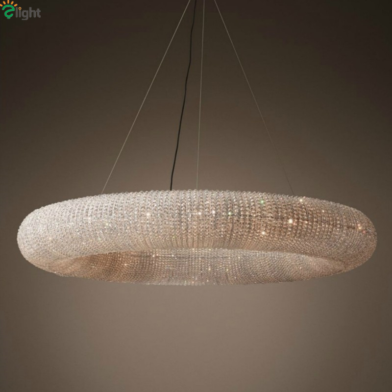 Dia100cm American RH Crystalhalo Lustre Crystal Led Round Pendant Light  Crystal Loft Restaurant Minimalism Cord Suspension Lamp