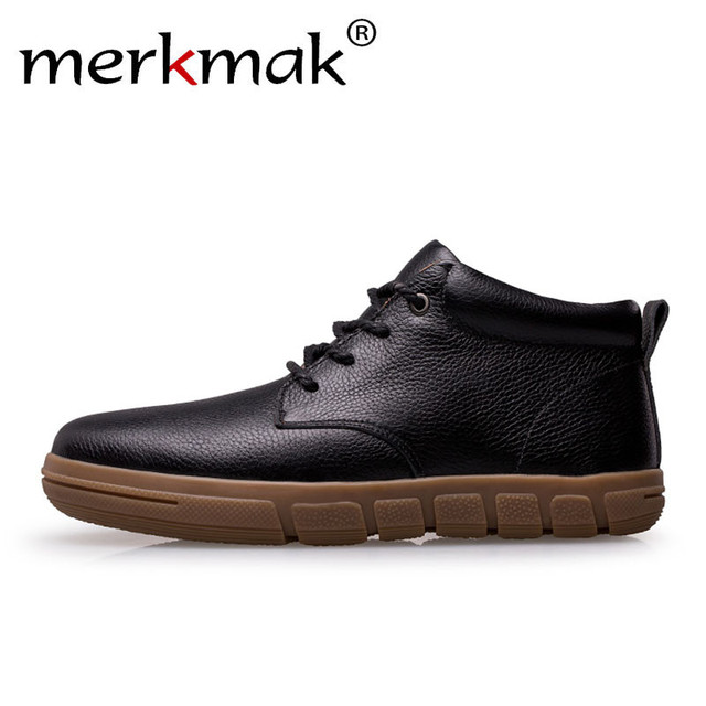 Merkmak Classic Men Shoes Genuine Leather Men Business Formal Shoes Black Warm Winter Dress Shoes Outdoor Men's Flats Large Size