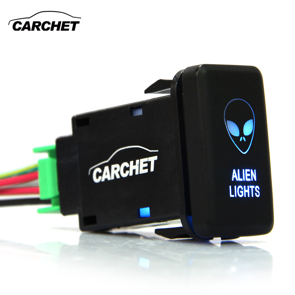 CARCHET 12V-24V Rocker Switch SPST Push Button Two Lights Blue for Toyota DIY Alien Car Auto for Toyota Button Light Switch bqlzr red pattern push switch s ot reverse camera toggle switch for toyota old style