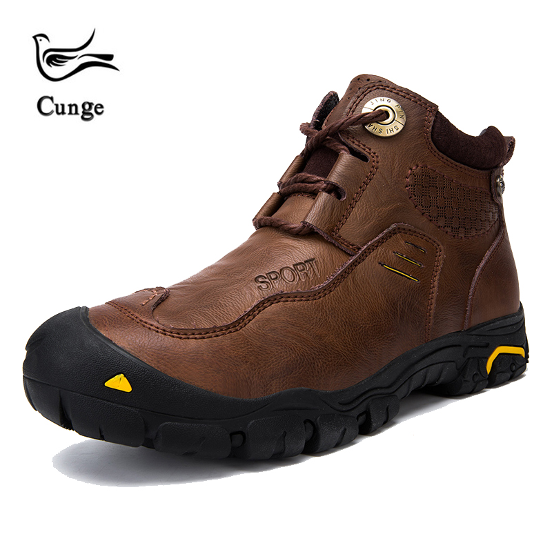 Cunge Hiking Shoes Sneakers Men New Trekking Shoes Waterproof Ankle Boots Leather Tactical Boots Snow Boats Winter Sports Shoes|Hiking Shoes|Sports & Entertainment - title=