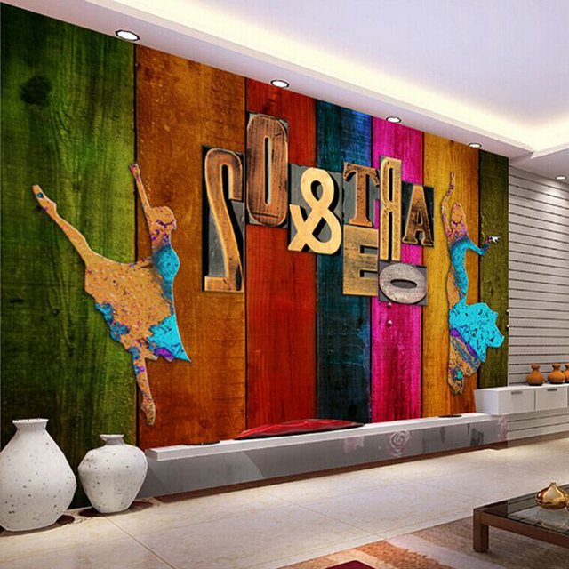 Living Room Retro Color Wood Letters Background Wall 3D Stereoscopic Video Wallpaper Simple Modern