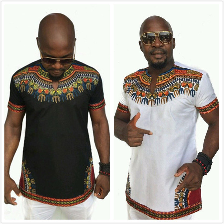 Cheap Fashion Design Classic Print Male Africa T Shirts Dashiki Tops Men Traditional African Clothing Black White