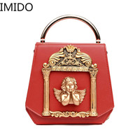 IMIDO 2019 with Metal Parts Baroque Angel Women's Small Bags Luxury PU Leather Shoulder Vintage Chains Bag Messenger Women Bag