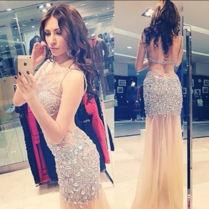 Fashion Sequin Sheer Bling Beads Prom Gown Sexy Backless Floor Length Wedding Party Dress