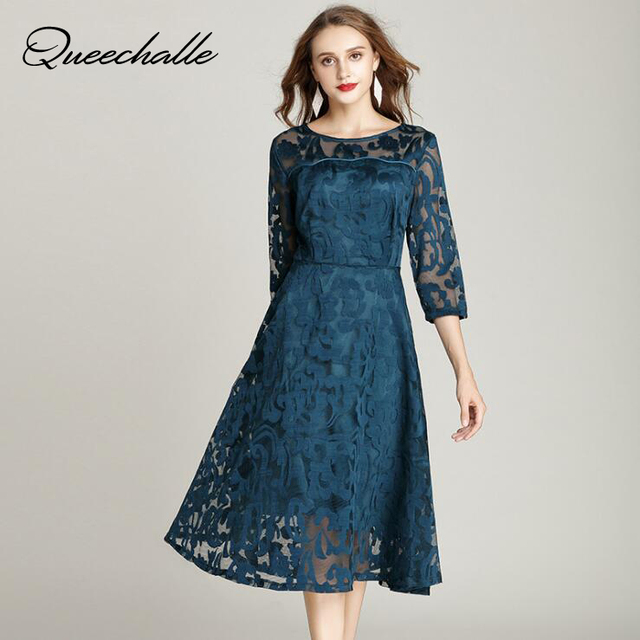 1cfcd88a8f Queechalle Autumn Lace Dress Work Casual Slim Fashion O-neck Sexy Hollow  Out Blue Red Dresses Women A-line Vintage Vestidos