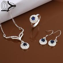 Горячая посеребренный комплект ювелирных изделий, свадебные аксессуары ювелирных изделий, синий круглый камень модное серебряное ожерелье серьги кольцо для женщин