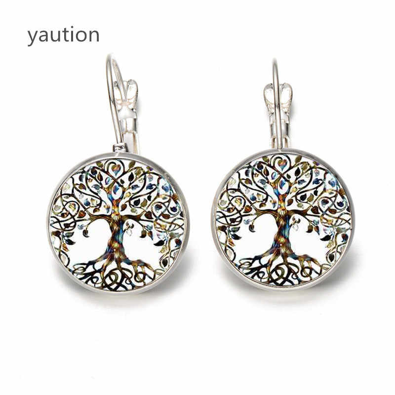 Hot! Tree of Life Hoa Stud Earrings Vintage Tree of Life Cabochon Celtic Glass Bông Tai đối với Phụ Nữ Jewelry Quà Tặng