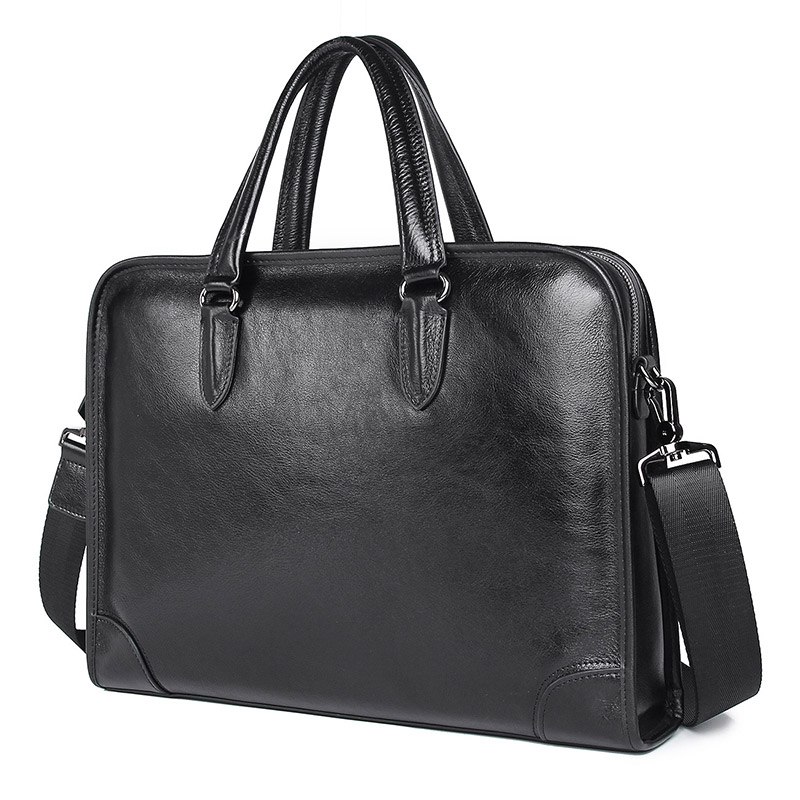 Nesitu High Quality Black Genuine Leather 14'' Laptop Office Men Briefcase Portfolio Business Shoulder Messenger Bags M7402