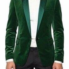 b1c3a3b2289a Custom Mader New Style Mens Green Velvet Smoking Jacket Luxury Wedding  Dinner Party Tuxedo Coat Blazer