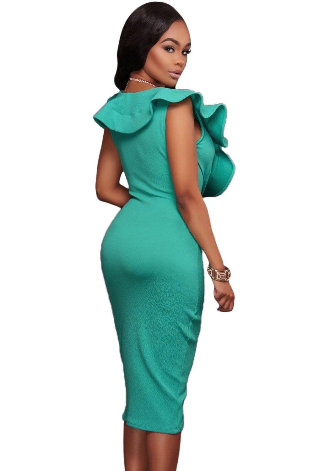 2017 Summer Jade Green Women Club Asymmetrical Midi Dresses Cross ...