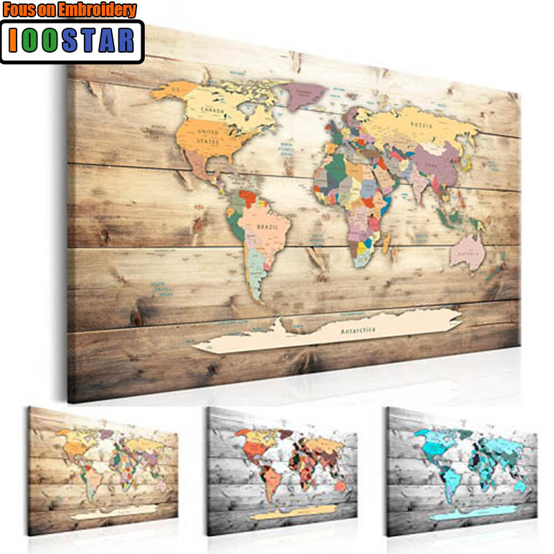 """World Map""5D DIY Diamond Painting Full Square drill Handicraft Cross Stitch Diamond Embroidery picture of pictures office decor"