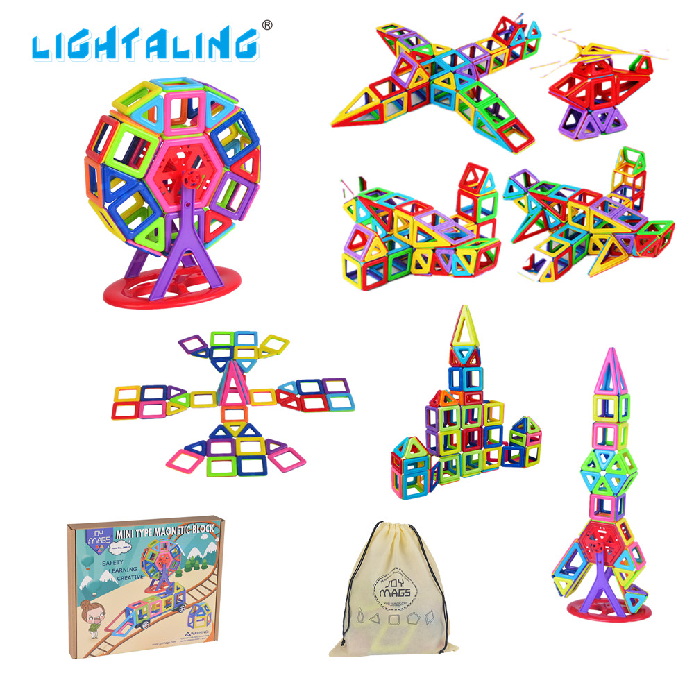 Lightaling Toy Mini Colorful Magnetic Blocks Building Designer Kit 3D DIY Brick  Educational Kids Toys for Children Toddler niteye ec a12 aa battery rechargeable led flashlight edc light cree xp l led lamp 380 lumens alloy reflector power indicator