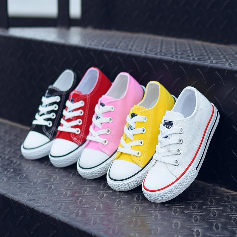 Kinder Schuhe für Mädchen Kinder Leinwand Schuhe Jungen Turnschuhe 2017 Frühling Herbst Mädchen Schuhe Weiß Short Solide Mode Kinder Schuhe