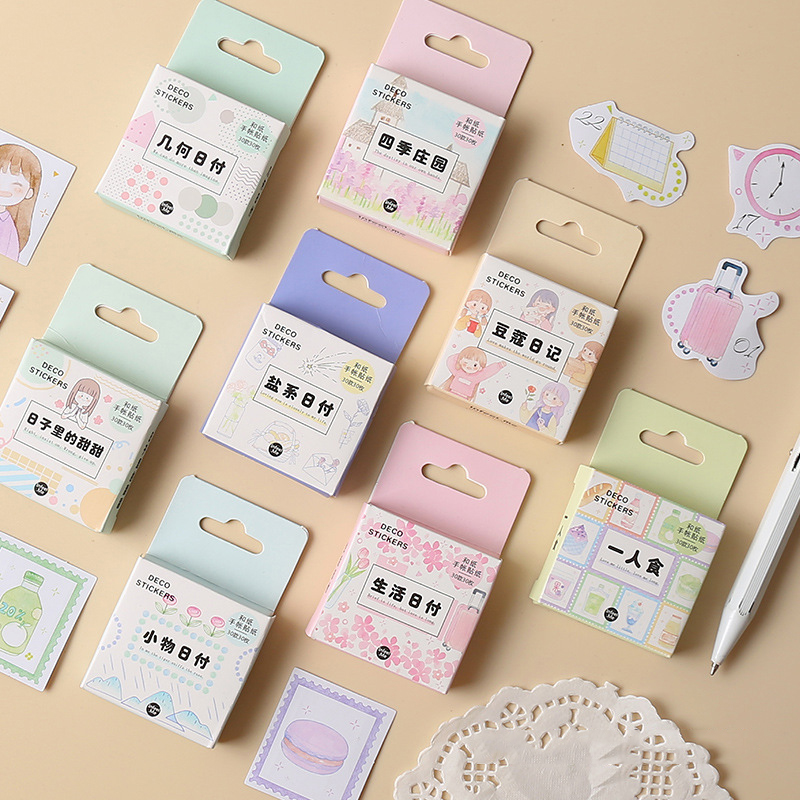 Mohamm Kawaii Daily Life Series Cute Sticker Custom Stickers Diary Stationary Flakes Scrapbook DIY Decorative Stickers