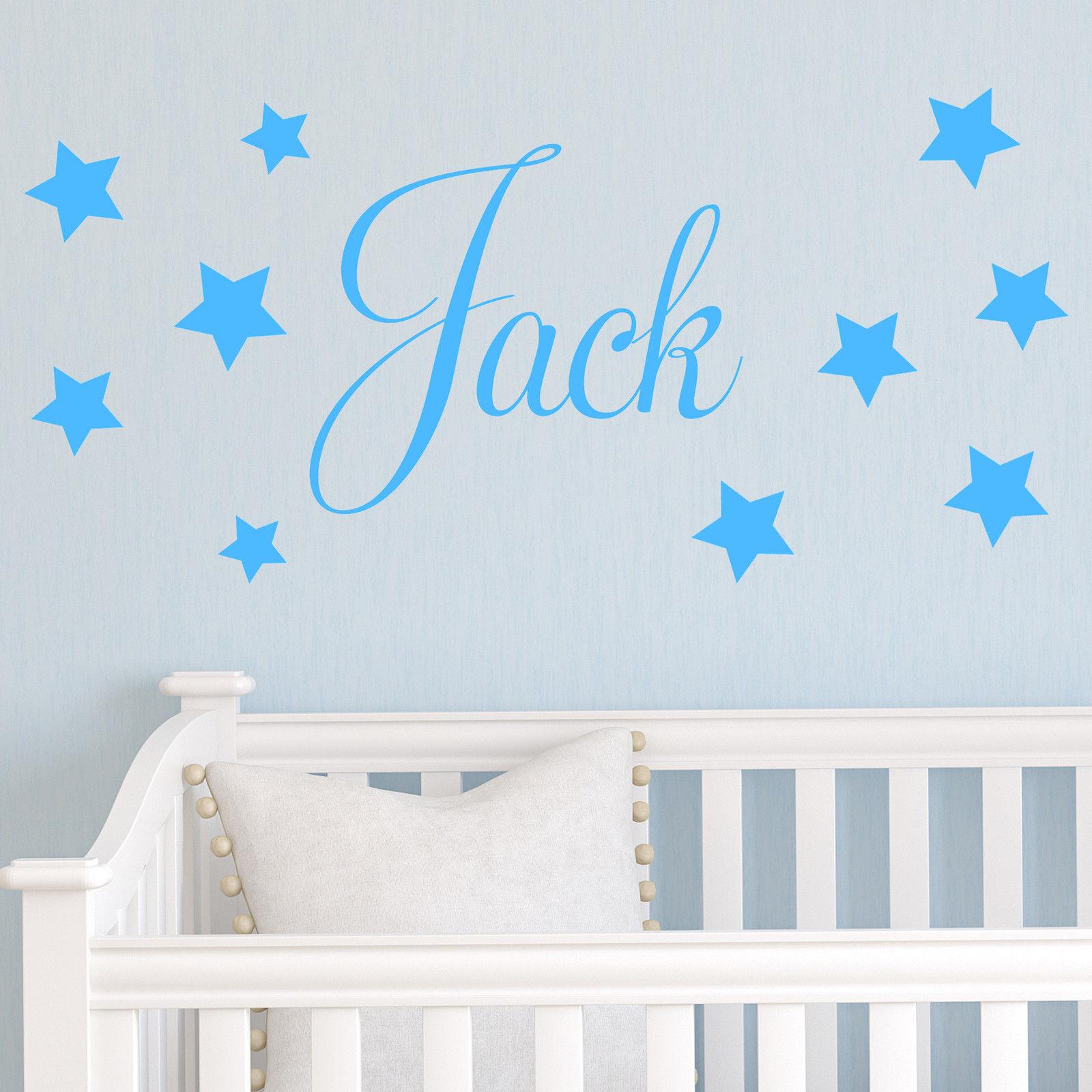 d201 baby boys wall sticker personalised stars child name bedroom nursery vinyl stickers star. Black Bedroom Furniture Sets. Home Design Ideas