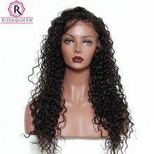 Rosa Queen 250% Density Lace Front Human Hair Wigs For Black Women Deep Wave Brazilian Remy Hair Natural Black With Baby Hair