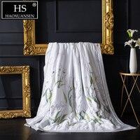 Нарцисс Pattern Белый тонкое стеганое одеяло 100% лиоцелл Тенсел 100 S тканевое одеяло для Роскошные взрослых мягкое покрывало для кровати queen King Р...