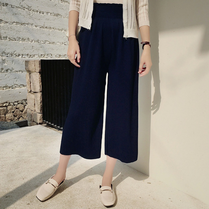 2018 Fashion Knited   Pants   Women High Waist Loose Solid   Capris   Elastic Waist Pleated Casual Trousers