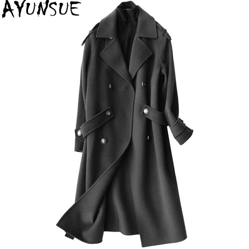 AYUNSUE 2019 Fashion 100% Wool Coat Female Autumn Winter Long Jackets Women Trench Coats Women's Clothing casaco feminino 37105