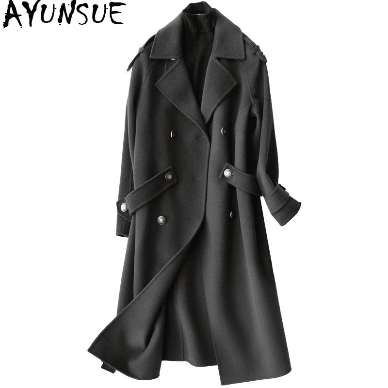 AYUNSUE 2019 Мода 100% шерсть женское осеннее пальто зимние длинные куртки женские тренчи Женская одежда casaco feminino 37105