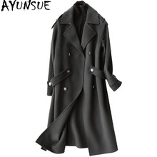 AYUNSUE 2019 Fashion 100% Wool Coat Female Autumn Winter Long Jackets Women Trench Coats Women's Clothing casaco feminino 37105(China)