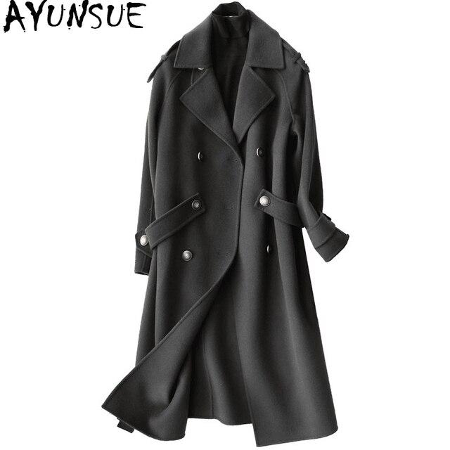 AYUNSUE 2019 Fashion 100% Wool Coat Female Autumn Winter Long Jackets Women Trench Coats Women's Clothing casaco feminino 37105
